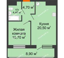 1 комнатная квартира 49,2 м², ЖК Дом № II-3 в мкр. Елецкий - планировка