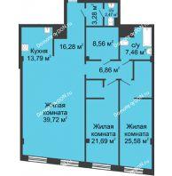 3 комнатная квартира 145,69 м², ЖК Гранд Панорама - планировка