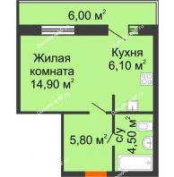 Студия 31,3 м² в ЖК Куйбышев, дом № 15 - планировка
