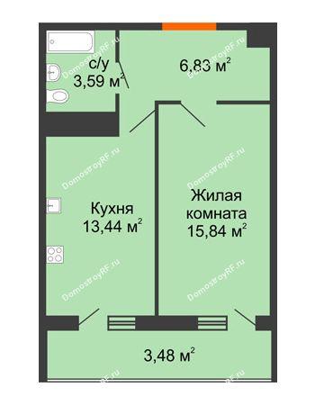 1 комнатная квартира 43,18 м² в ЖК Фамилия, дом Литер 1