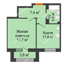 1 комнатная квартира 43,3 м² в ЖК Цветы 2, дом № 7 - планировка