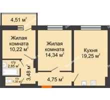 2 комнатная квартира 58,5 м², ЖК Инстеп.Победа - планировка
