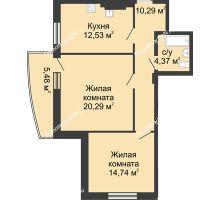 2 комнатная квартира 67,7 м² в ЖК Тихий Дон, дом № 2 - планировка