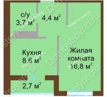 1 комнатная квартира 34,85 м² в ЖК ЮГ, дом № 15