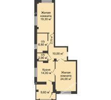 2 комнатная квартира 84,5 м², ЖК Династия на Соборном - планировка