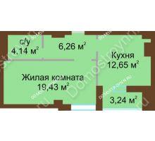 1 комнатная квартира 44,1 м², ЖК Грани - планировка