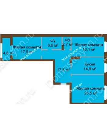 3 комнатная квартира 105,45 м² - ЖК Классика - Модерн