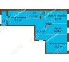 3 комнатная квартира 105,45 м², ЖК Классика - Модерн - планировка