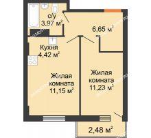 2 комнатная квартира 38,16 м², ЖК Каскад на Ленина - планировка