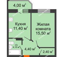 1 комнатная квартира 41,6 м² в ЖК Звездный-2, дом № 4 - планировка