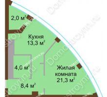 1 комнатная квартира 49 м² в ЖК Монолит, дом № 89, корп. 1, 2 - планировка