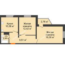 2 комнатная квартира 53,53 м² в ЖК Бурнаковский, дом № 48 - планировка