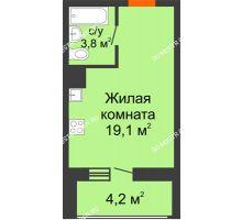 Студия 25 м² в ЖК Подкова на Родионова, дом № 2 - планировка