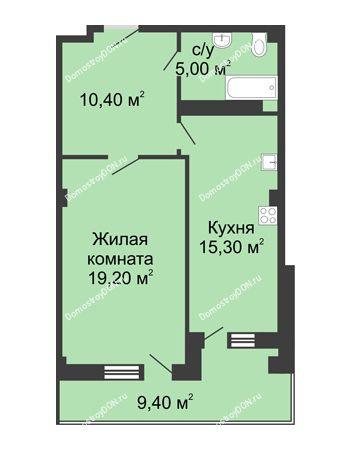 1 комнатная квартира 54,6 м² - ЖК Дом на Береговой