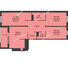 3 комнатная квартира 92,4 м² в ЖК Айвазовский, дом ГП 2 Дом «Средиземный» - планировка