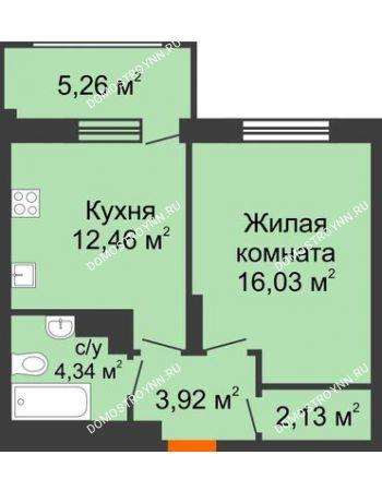 1 комнатная квартира 40,46 м² в ЖК Маленькая страна, дом № 4