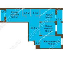 3 комнатная квартира 101 м² в ЖК Монолит, дом № 89, корп. 1, 2 - планировка