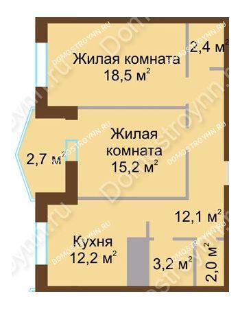 2 комнатная квартира 68,3 м² в ЖК Монолит, дом № 89, корп. 1, 2