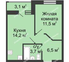 1 комнатная квартира 37,45 м² в ЖК Цветы, дом № 10 - планировка