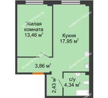 1 комнатная квартира 42,04 м² в ЖК Лайм, дом № 1