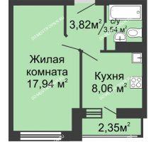 1 комнатная квартира 20 м² в ЖК Зеленый берег, дом Дом 13 корпус 1 - планировка
