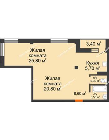2 комнатная квартира 68,4 м² - ЖК Южная Башня