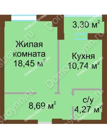 1 комнатная квартира 43,8 м² - ЖК Грани