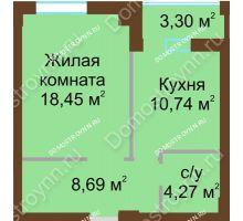 1 комнатная квартира 43,8 м², ЖК Грани - планировка