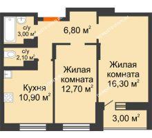 2 комнатная квартира 53,3 м² в ЖК Подкова на Цветочной, дом № 7 - планировка