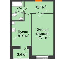 1 комнатная квартира 40 м² в ЖК Современник, дом Позиция 7 - планировка