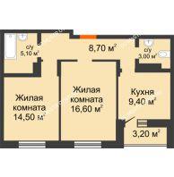 2 комнатная квартира 60,5 м² в ЖК Подкова на Цветочной, дом № 9 - планировка