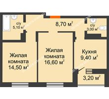 2 комнатная квартира 58,9 м² в ЖК Подкова на Цветочной, дом № 7 - планировка
