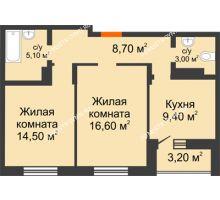 2 комнатная квартира 60,5 м² в ЖК Подкова на Цветочной, дом № 8 - планировка