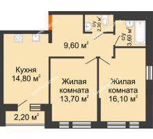 2 комнатная квартира 60,1 м² в ЖК НОРД, дом № 13 - планировка