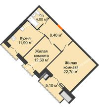 2 комнатная квартира 62,05 м², Жилой дом: г. Дзержинск, ул. Кирова, д.12 - планировка