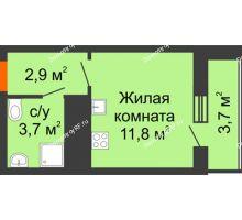 Студия 22,1 м², ЖК Космолет - планировка