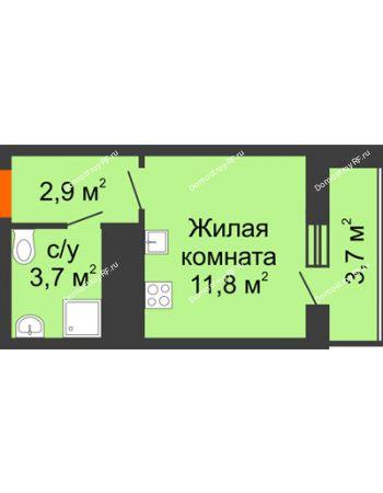 Студия 22,1 м² - ЖК Космолет