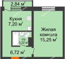 1 комнатная квартира 35,39 м² в ЖК Корабли, дом № 9-1 - планировка