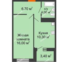 1 комнатная квартира 38,7 м² в ЖК Дружный, дом Литер 2.3 - планировка