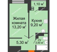 1 комнатная квартира 32 м² в ЖК SkyPark (Скайпарк), дом Литер 1, корпус 1, блок-секция 2-3 - планировка