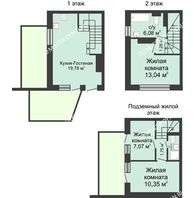 4 комнатный таунхаус 73 м² в КП Баден-Баден, дом № 26 (от 73 до 105 м2) - планировка