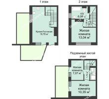 4 комнатная квартира 73 м² в КП Баден-Баден, дом № 44 (от 73 до 105 м2) - планировка