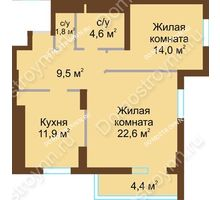 2 комнатная квартира 68,8 м² - ЖК Подкова Сормовская