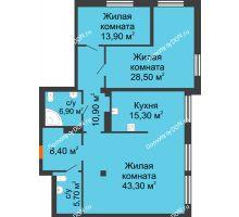 3 комнатная квартира 128,8 м², ЖК Богатяновский - планировка