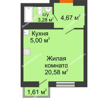 Студия 29,22 м² в ЖК Мечников, дом ул. Мечникова, 37 - планировка