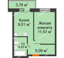 1 комнатная квартира 29,85 м² в ЖК Заречный, дом ГП-49 - планировка