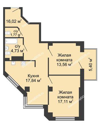 2 комнатная квартира 72,65 м² в ЖК Мега, дом № 2