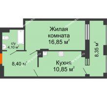 1 комнатная квартира 48,55 м² в ЖК Симфония, дом 3 этап - планировка