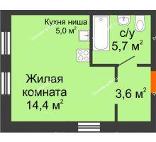 Студия 28,7 м² в Микрорайон Республика, дом ГП-3 - планировка