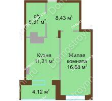 1 комнатная квартира 45,95 м² в ЖК Солнечный город, дом на участке № 208 - планировка
